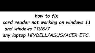 Sd Card Reader Not Working Windows 10 Hp