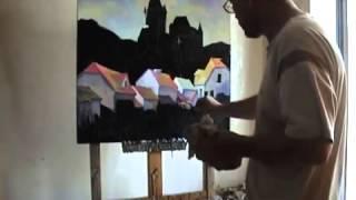 Живопись на черном. Видео-урок Городской пейзаж маслом.