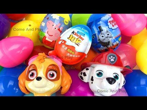 Super Surprise Eggs Kinder Joy Paw Patrol Peppa Pig Thomas Toys Learn Colors Play Doh Animals Kids