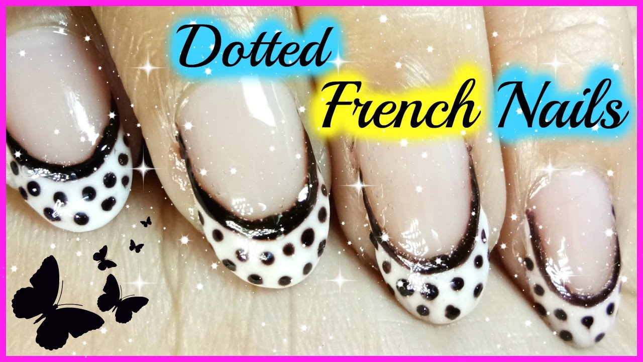 French Nail Art Designs Using Black And White Dotted Nails Polish
