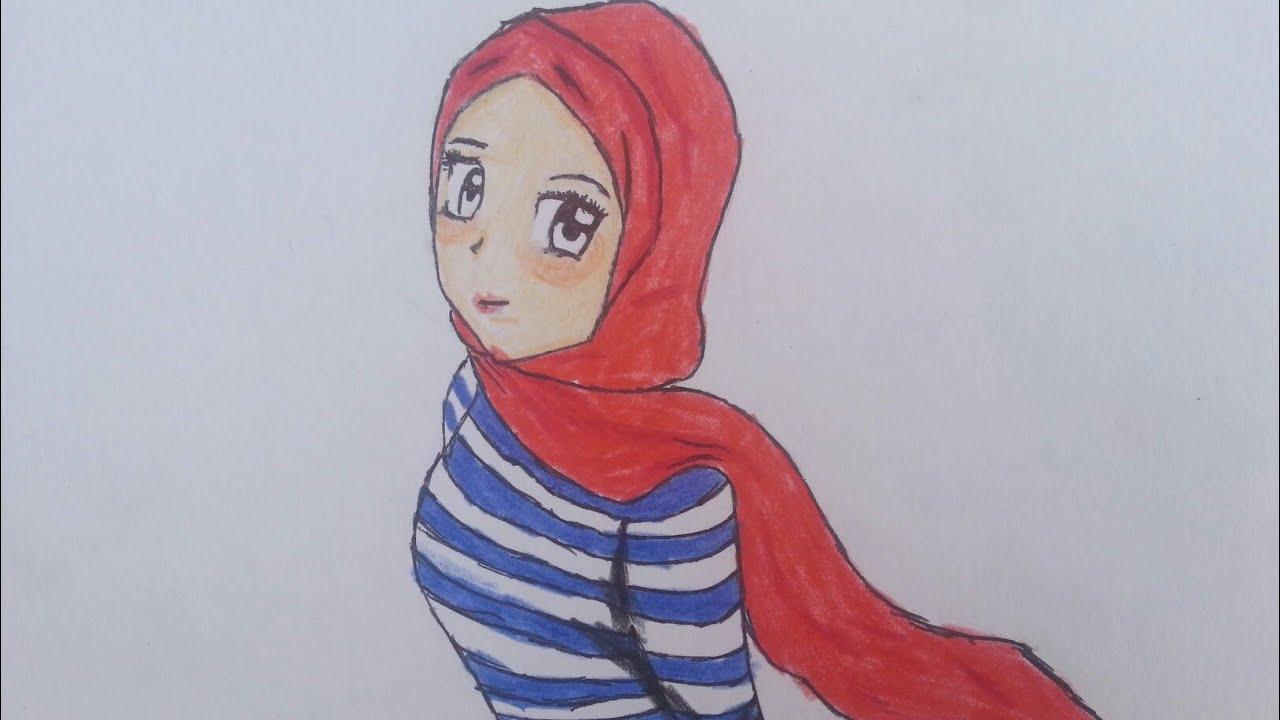 تعلم رسم فتاة انمي محجبة How To Draw An Anime Girl In Hijab Youtube
