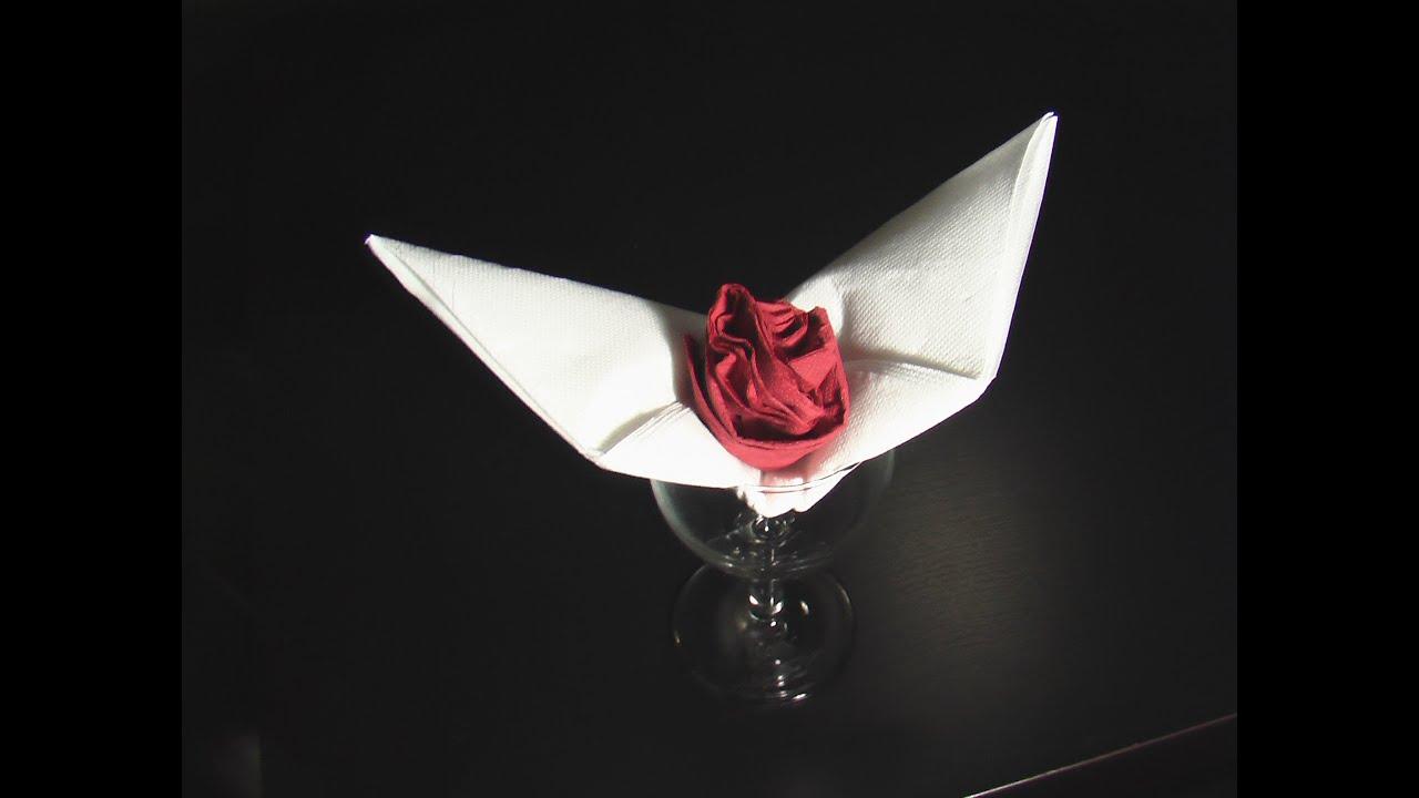 pliage serviette décoration table bouton de rose - youtube