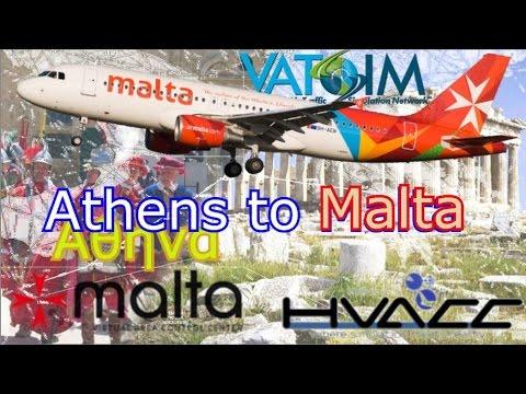 Malta & Athens, Aerosoft A320 flies Air Malta on Vatsim