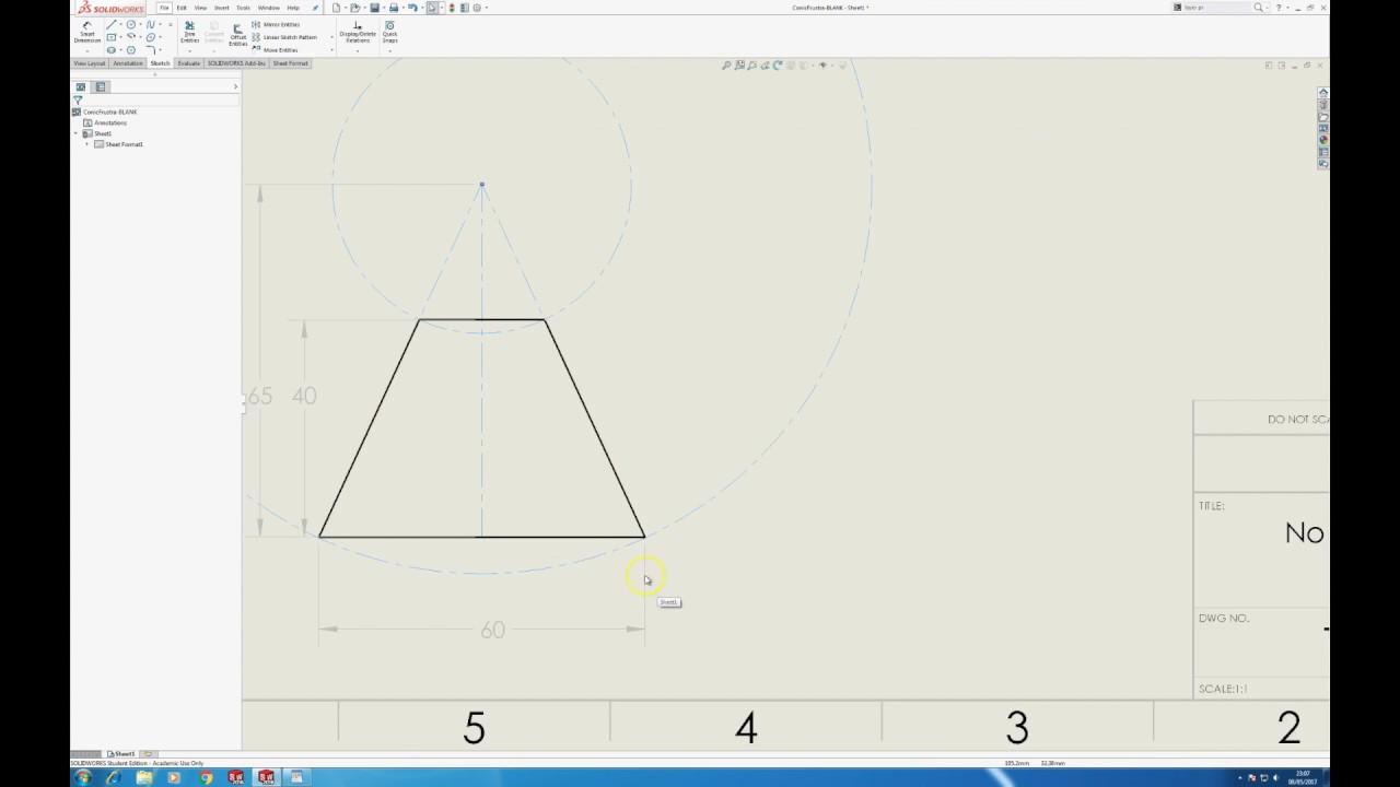 Frustrum Of A Cone Sheet Metal Pattern Development Youtube