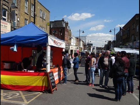 Homemade style Vegetarian Paella – freshly made Spanish food in Chapel Street Market, Angel, London