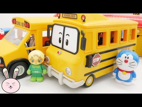 Thumbnail: Wheels on the bus go round and round Robocar Poli School Bus Playmobil Nursery Rhymes for children