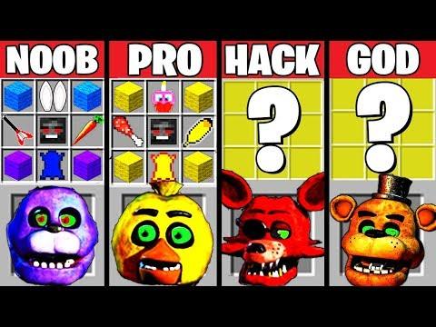Minecraft Battle: FNAF CRAFTING CHALLENGE - NOOB vs PRO vs HACKER vs GOD in Minecraft Animation