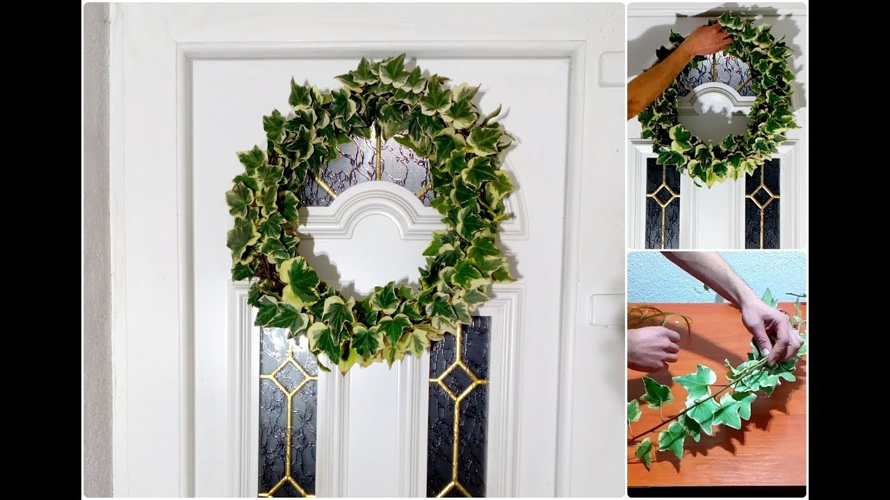 how to make english ivy wreath door decorating ideas youtube