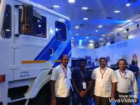 Ashok Leyland 16 wheel truck. 4123 with twin tyre lift axil. Chennai auto exhibition