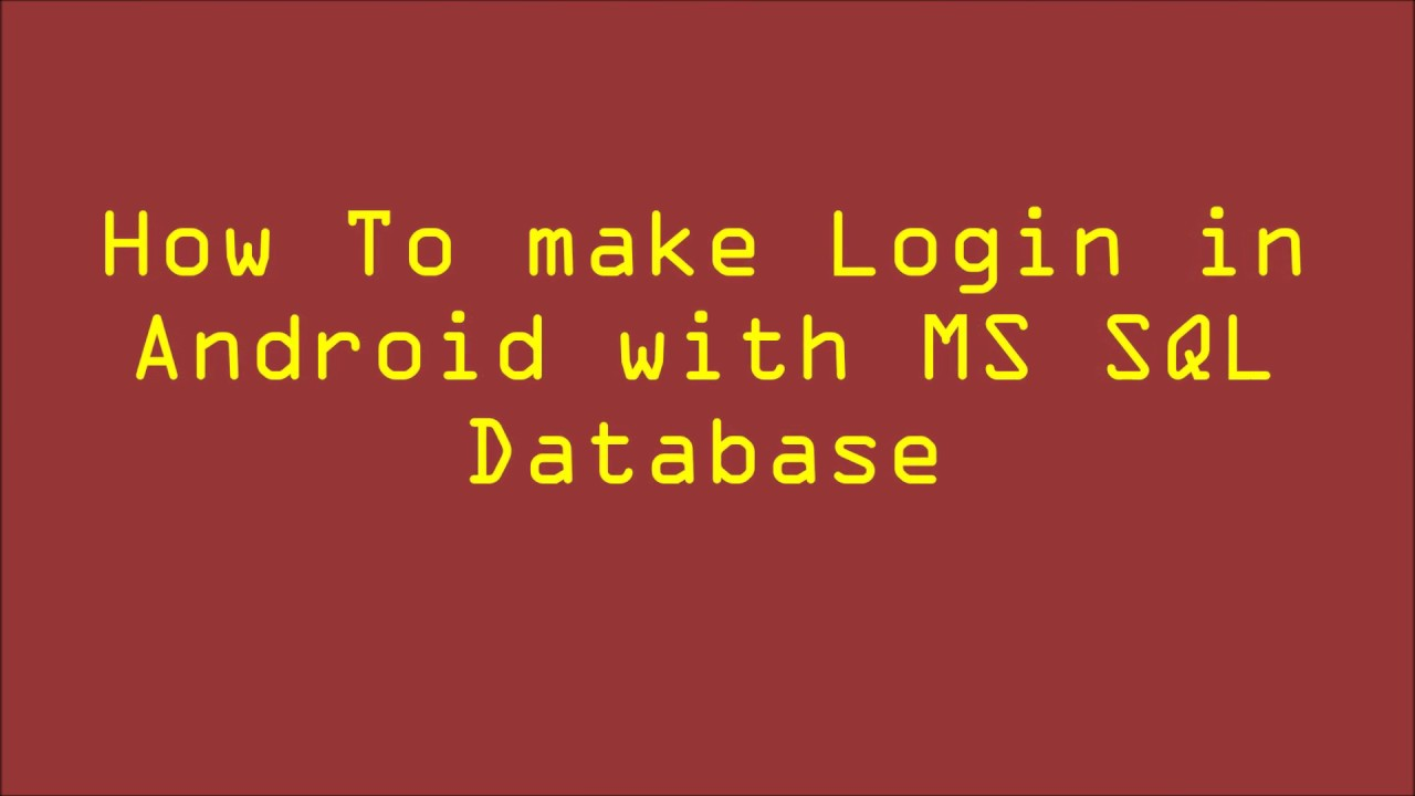 Connect Android App With SQL Server | Login with Spinner