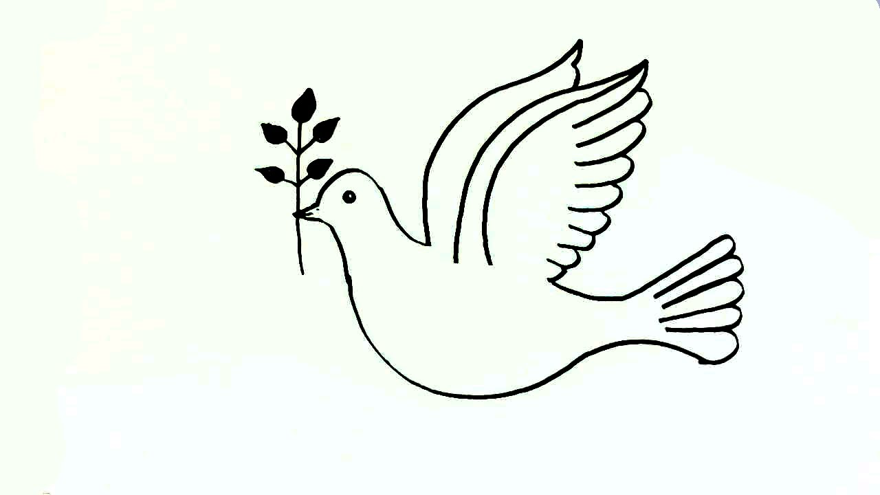How To Draw A Peace Dove In Easy Steps For Children Beginners