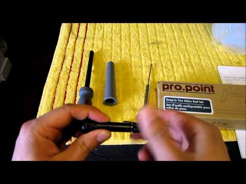 How to replace a tire valve without taking off the tire using tool kit.