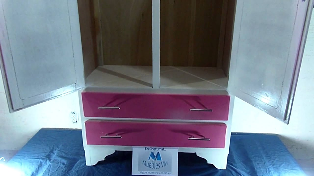 Mueble Para Niña, Ropero 2 Ptas, 2 Cajones color Rosado con Blanco ...