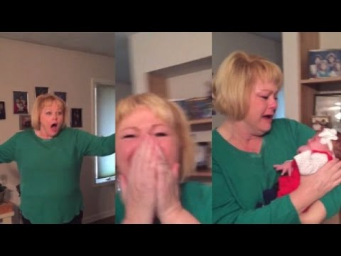 Grandma's adorable reaction to meeting new granddaughter