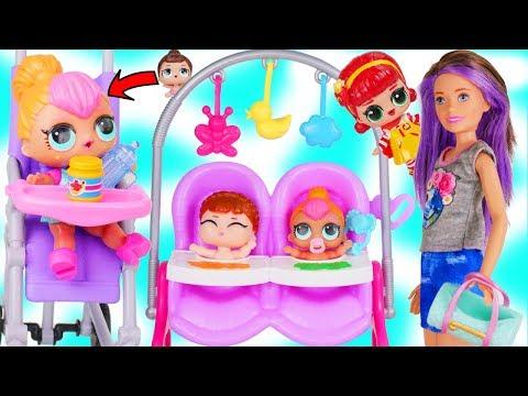 LOL Surprise Dolls + Lil Sisters Meet Skipper the Babysitter - Barbie McDonalds Drive Thru Toy Video