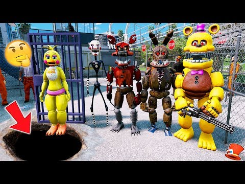 WHO BROKE TOY CHICA OUT OF PRISON? (GTA 5 Mods For Kids FNAF RedHatter)