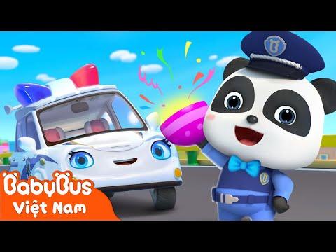 Xe cảnh sát thi hành nhiệm vụ | Có gì trong quả trứng sắc màu | Nhạc thiếu nhi vui nhộn | BabyBus