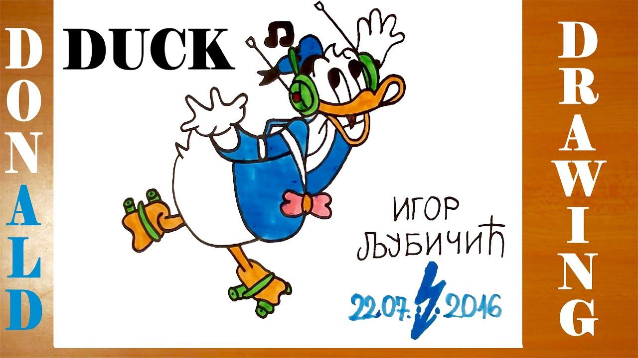 How To Draw Donald Duck Easy For Kids, Full Body On Roller Skates, And  Color  #mrusegoodart