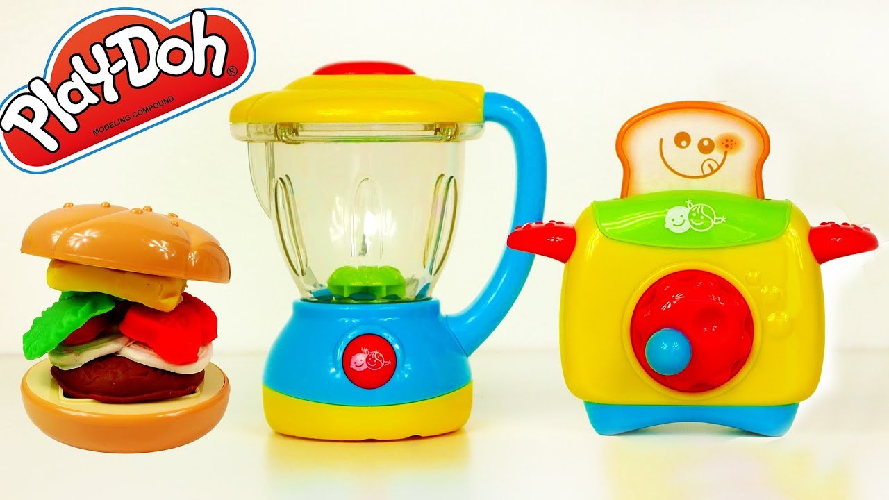 blender and toaster my little kitchen set toys for kids play doh