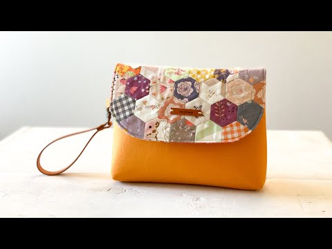How to make Hexie Wristlet Pouch / Makeup Pouch DIY / English Paper Piecing Bag DIY