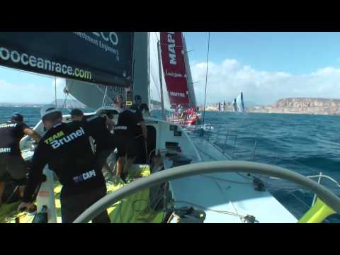 Alicante in-port practice race aboard Team Brunel