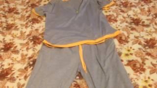 Women's sport suit grey with beige trim (aliexpress )