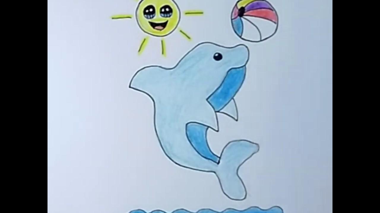 رسم لوحة سهلة للاطفال رسم دولفين كيوت Draw Easy Dolphin For Kids