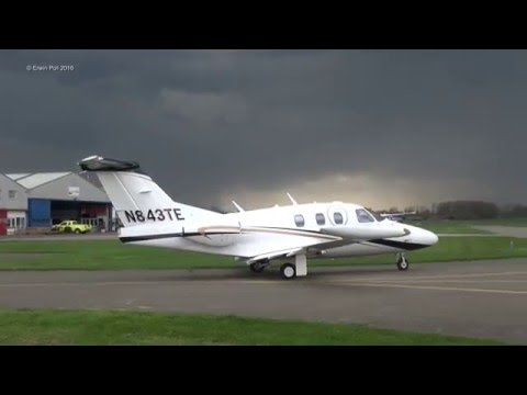 Iron Maiden's Bruce Dickinson Eclipse 500 N843TE Departure Teuge Airport  holland (13-04-2016)