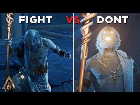 Fight Vs Don't Fight Pythagoras (Alexios Destroys Atlantis) - Assassin's Creed Odyssey
