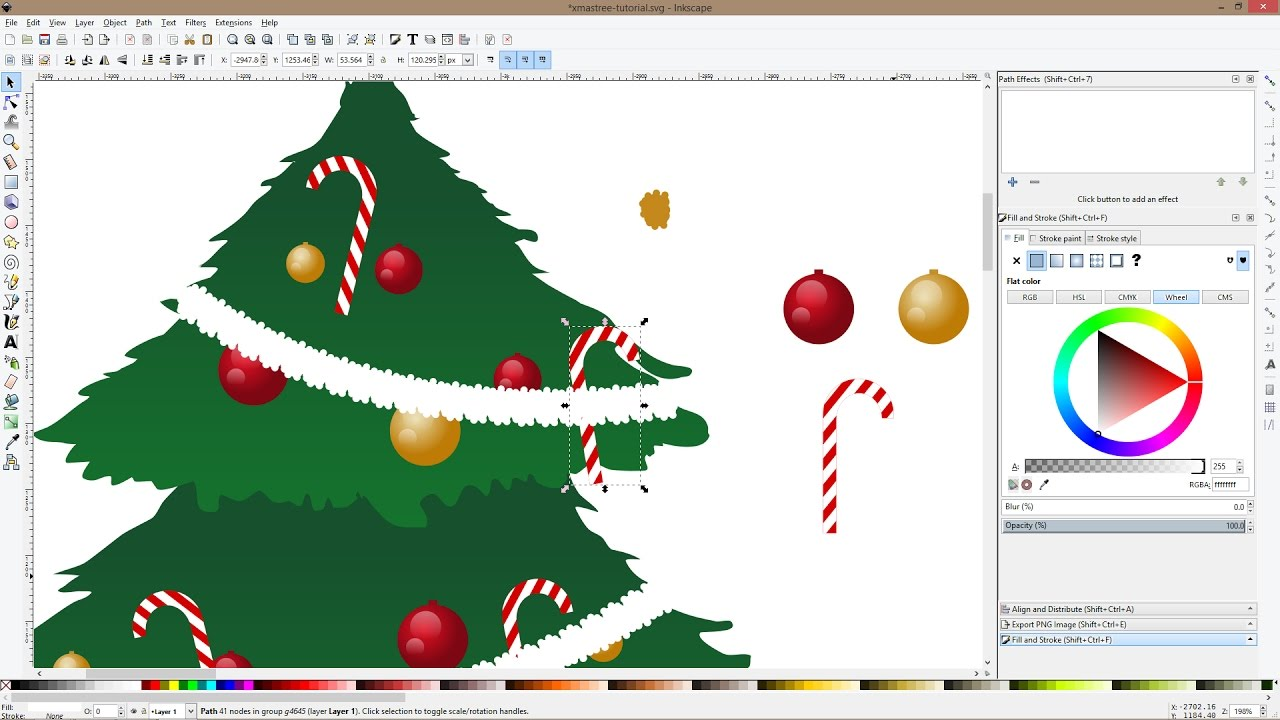 how to draw a christmas tree and ornaments with inkscape