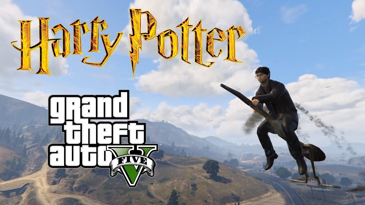 GTA 5 Mods - HARRY POTTER (Magic Wand + Broomstick) - YouTube