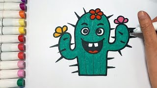 How To Draw Cute Cactus Draw For Kids