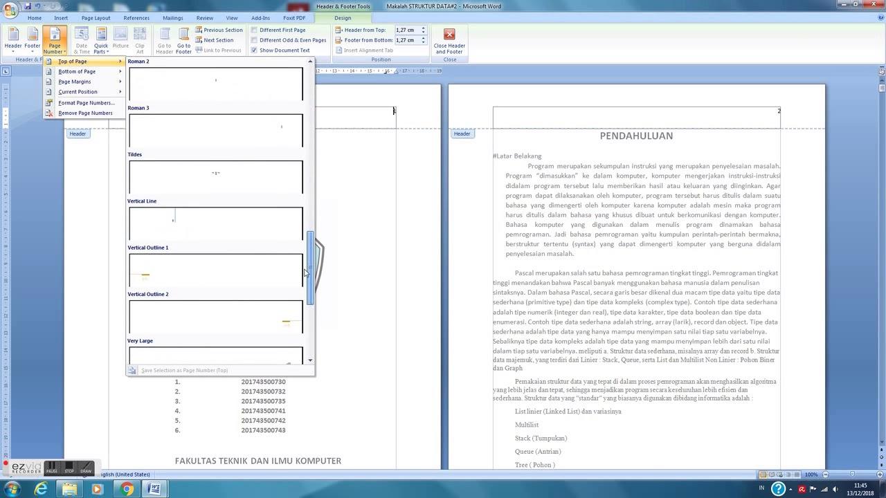 cara memberi halaman di ms word