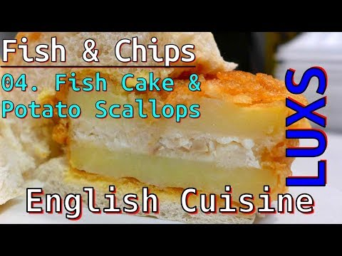 Fish Cake And Scallops From English Fish And Chips