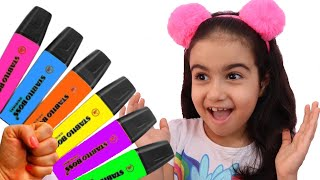 Şimal pretends to play with her Magic Pen - Preschool toddler learn color