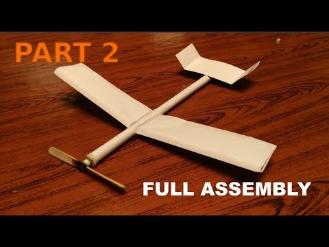 [PART 2] How to make a rubber band powered plane with paper (Assembling the wings and test flights)