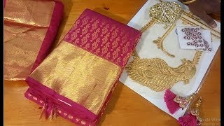 Wedding silk saree blouse    easy method
