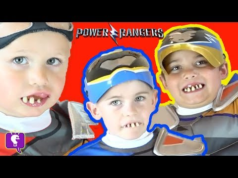 GROSS TEETH-POWER RANGERS FIGHT GERMS! Surprise Toy Reviews + Children FAMILY FUN HobbyKidsTV