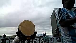 富士山世界遺産登録の瞬間の富士市です。 鬼太鼓座が通りがかりのレイザ...
