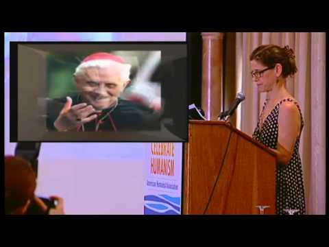 Janet Heimlich speaks on a panel moderated by Richard Dawkins