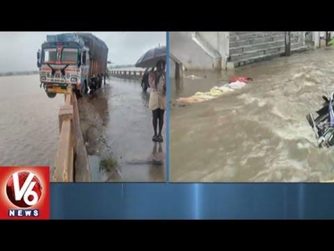 Lorry Hits Majeera Bridge Railing | Heavy Rain Lashed Medak District | V6 News