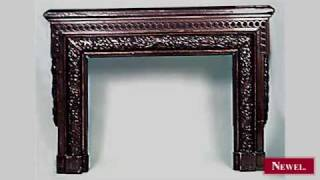 Antique American Victorian Carved Walnut Fireplace Mantel
