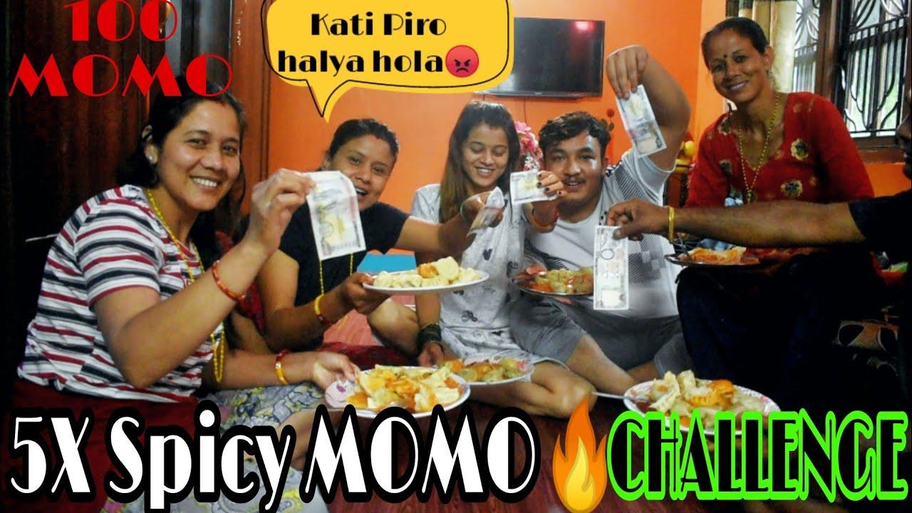 5X Spicy🔥MOMO challenge !100 momo's challenge😱!!Strict punishment & 5,000 Reward🤣!!SurajSarishmaVlog