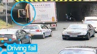 Truck Driver Gets Stuck Under Low Bridge | Truck Driver Fail