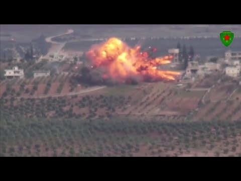 Direct ATGM hit: Kurdish female fighters destroy invading Turkish Leopard 2 tank in Afrin region