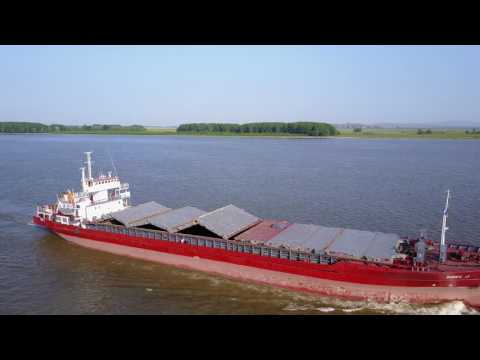 Cargo ship cruising on Danube @ Galati