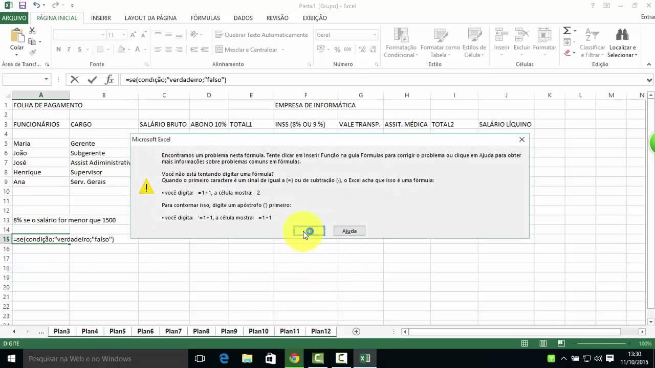Excel Aula 5 Folha De Pagamento Youtube