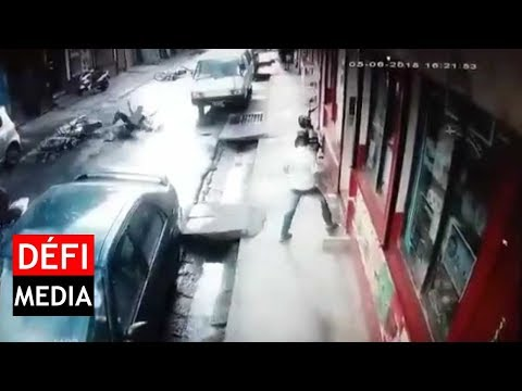 Port-Louis : un accident spectaculaire filmé par une CCTV