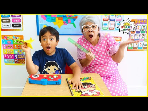 Ryan's first day back to school Pretend play!!!