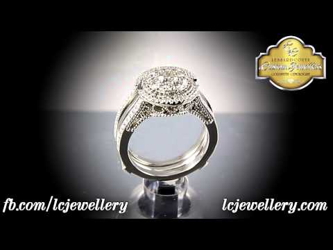 LCJ One of a Kind Engagement Ring and Matching Wedding Bands